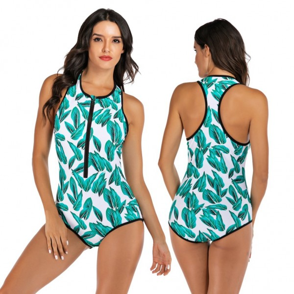 One Piece Swimsuit Green Leaves Print Bathing Suit