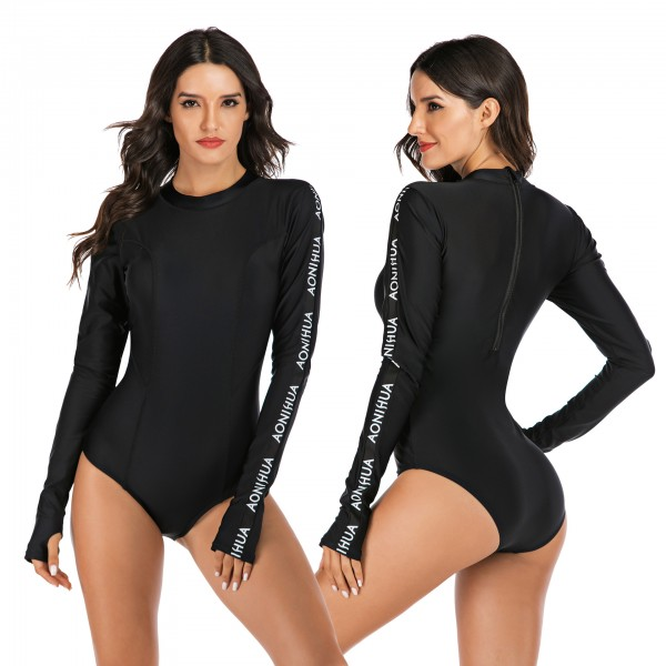 Black Rash Guard Letters Print Long Sleeves Surf Suit
