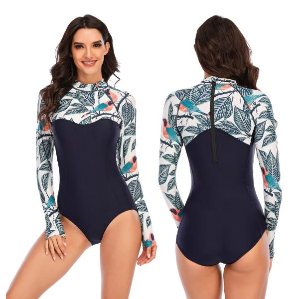 One Piece Swimsuit Print Leaf Long Sleeve Women Swimwear Bathing Suit