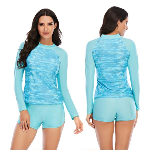 Women Two Pieces Light Blue Rash Guard Long Sleeve Swimsuit