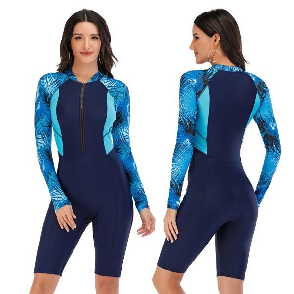 Women's One Piece Surfing Suit Modest Blue Rash Guard