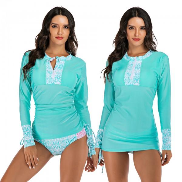 Retro Women's Tankinis Two Piece Long Sleeves Modest Swimwear