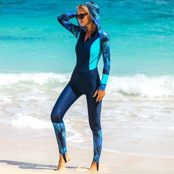 Blue Print Women's Surf Wetsuit Anti-UV Hooded Long Sleeves Rashguard
