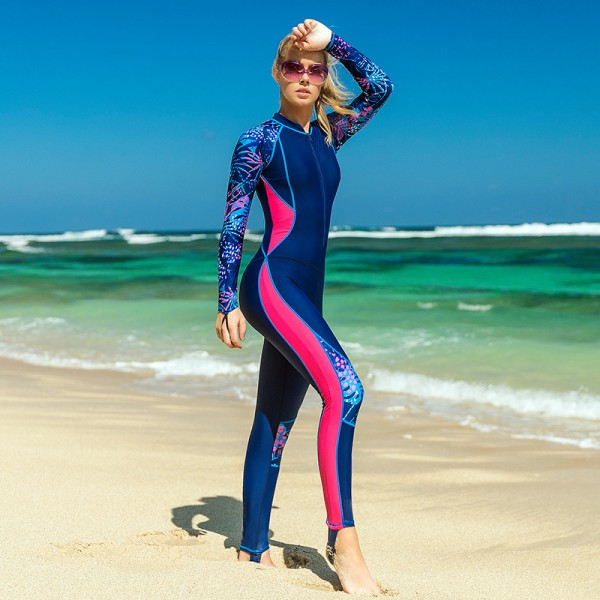 Rash Guard Womens Surf Suit Swimming Wetsuits Front Zip