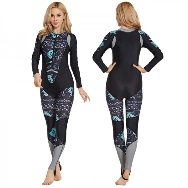 Rash Guard Womens Surf Suit Anti-UV Surfing Front Zip
