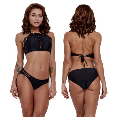 b39c37fa86b Black Two Pieces High Neck Black Swimsuit Bikini Bathing Suit