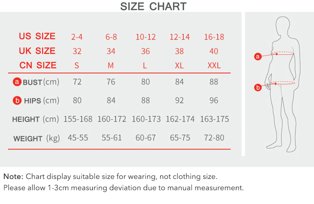 Wetsuitsbuy Women Swimsuits Size Chart
